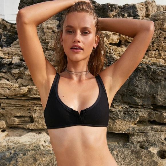 28739a481f8a9 Tavik Swim | Black Ribbed Marlowe Henley Bikini Top Xs | Poshmark